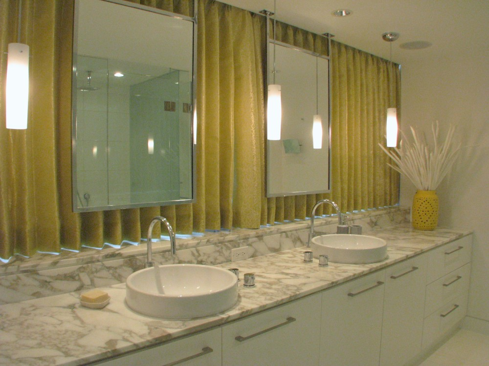 English Bay-apartment-contemporary-modern-bath-double sink-window-mirror