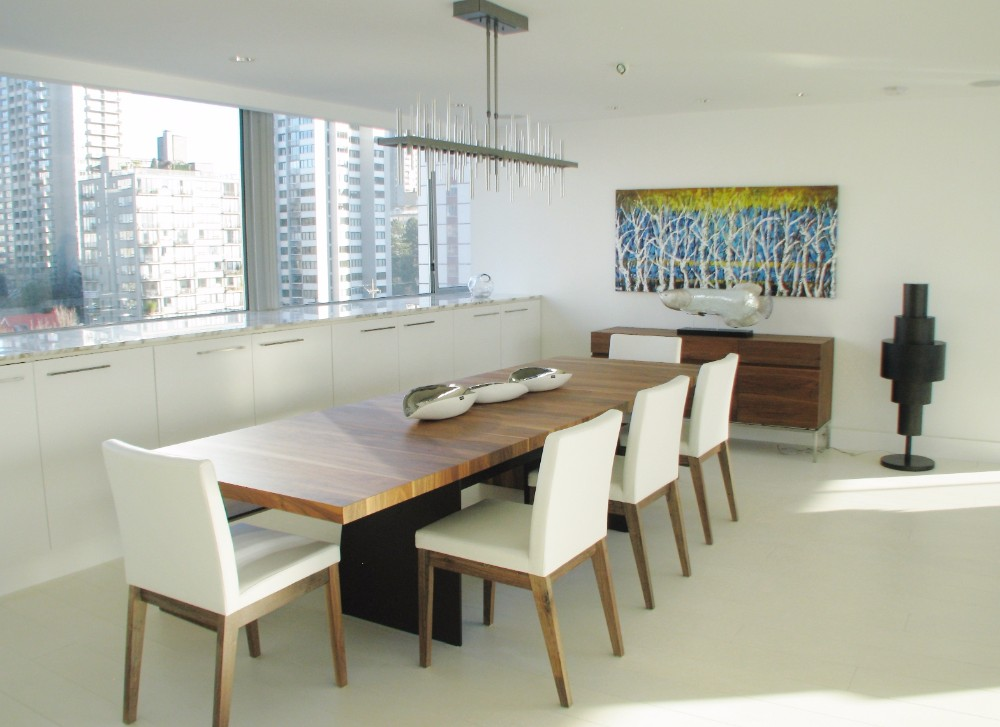 English Bay-apartment-contemporary-modern-dining-walnut table-chendelier