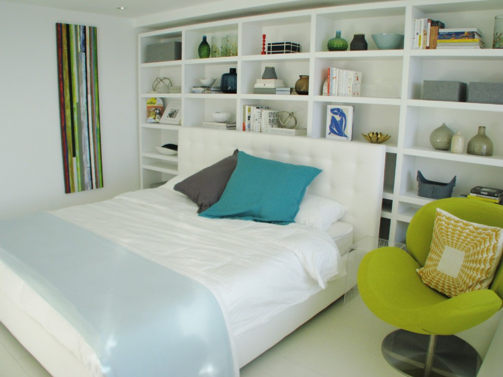English Bay-apartment-contemporary-modern-white-bedroom-built-in shelving
