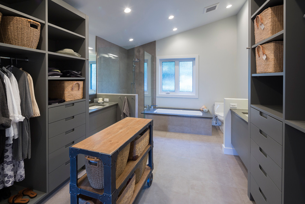 Whistler-Contemporary-modern-bathroom-ensuite-walk in closet-painted grey millwork (2)