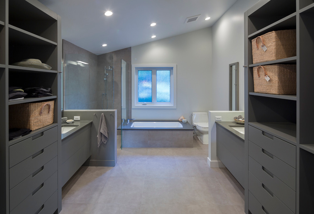 Whistler-Contemporary-modern-bathroom-ensuite-walk in closet-painted grey millwork (3)
