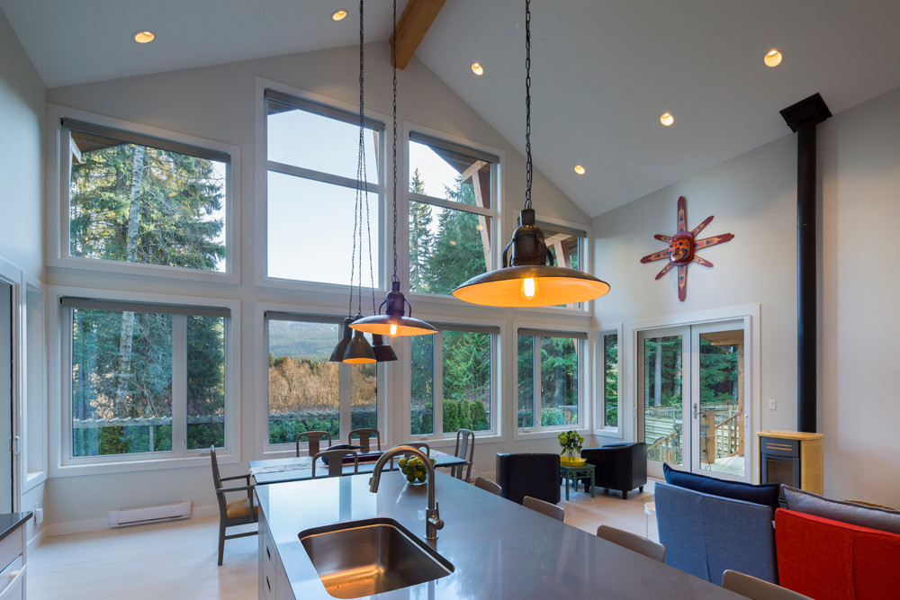Whistler-Contemporary-modern- industrial kitchen-open concept-white gray-vaulted ceiling (1)