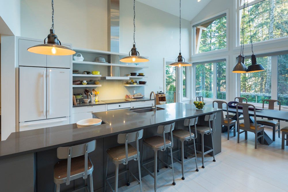 Whistler-Contemporary-modern- industrial kitchen-open concept-white gray-vaulted ceiling (3)