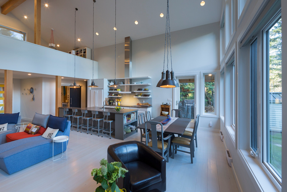 Whistler-Contemporary-modern- industrial kitchen-open concept-white gray-vaulted ceiling (7)