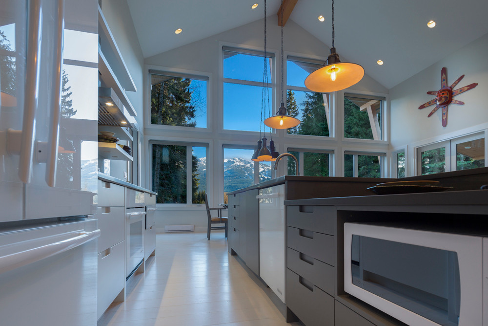 Whistler-Contemporary-modern- industrial kitchen-open concept-white gray-vaulted ceiling-white glass appliances