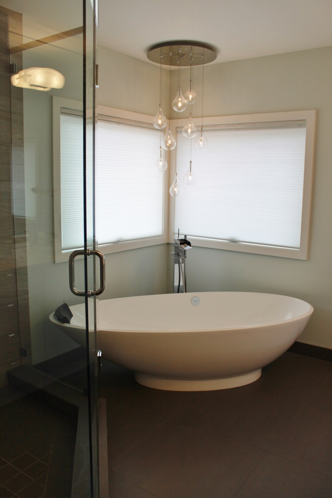 W 22nd Ave- Bathroom-contemporary-modern-free standing tub- chandelier
