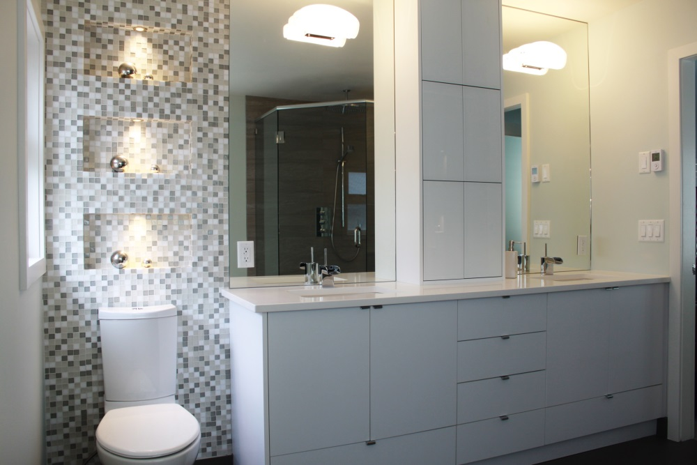 W 22nd Ave- Bathroom-contemporary-modern-white vanity- tile mosaic wall niche