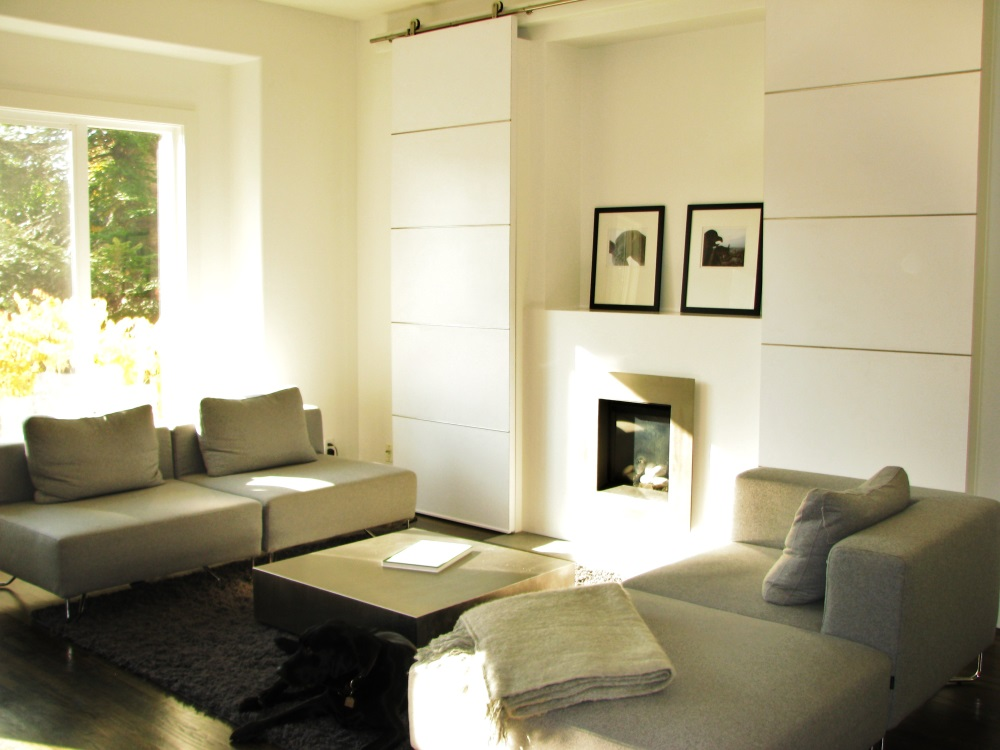 W 22nd Ave- fireplace-contemporary-modern-sliding custom white barn doors-fireplace (2)
