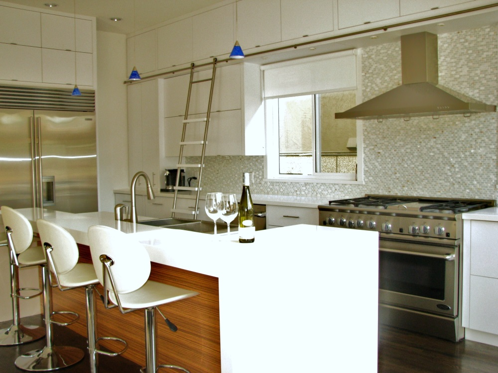 W 22nd Ave- kitchen-contemporary-modern-white kitchen-sliding ladder-bar stools-glass backsplash- (2)