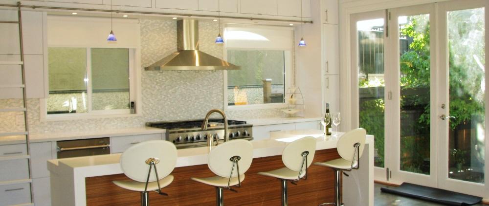 W 22nd Ave- kitchen-contemporary-modern-white kitchen-sliding ladder-bar stools-glass backsplash- 8ft glass patio door