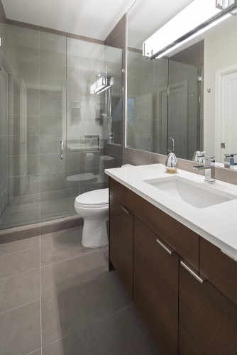 W 42nd ave- contemporary-modern-bath-glass shower-white oak vanity-white counter