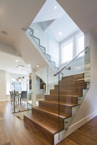 W 42nd ave- contemporary-modern-custom walnut stairs-glass railing