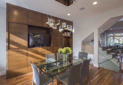 W 42nd ave- contemporary-modern-walnut floor-dining room-millwork-chandelier