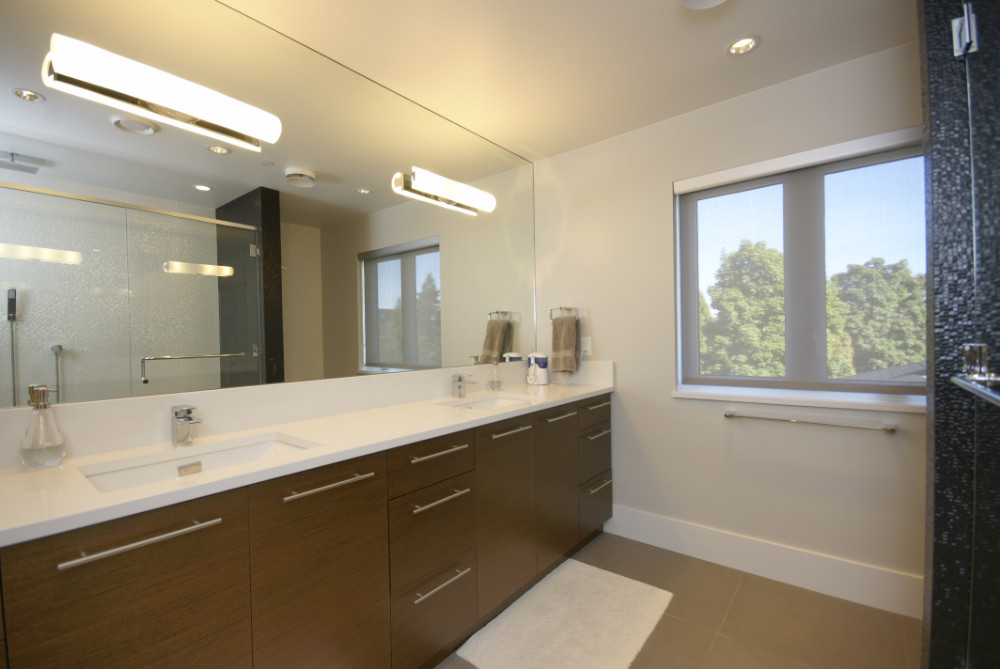 W 49th Ave-contemporary -modern-bathroom-ensuite-double sink-white counter