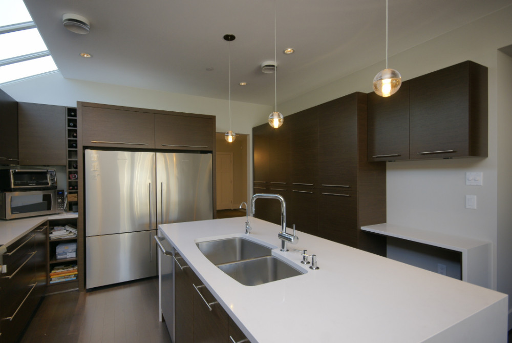 W 49th Ave-contemporary -modern-kitchen flat panel cabinets-skylight-white island