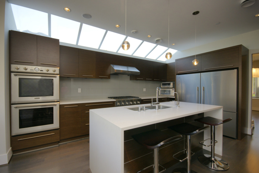W 49th Ave-contemporary -modern-kitchen flat panel cabinets-skylight