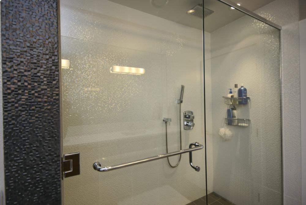 W 49th Ave-contemporary -modern-large shower-white tile-frameless glass shower