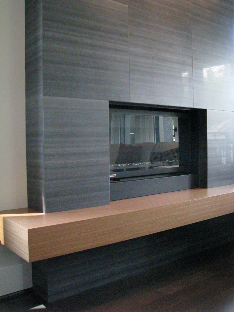 W 49th Ave-contemporary -modern-living room-tile fireplace-floating wood hearth